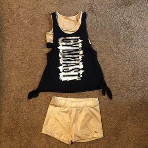 Justice gymnastics top n matching shorts sz12